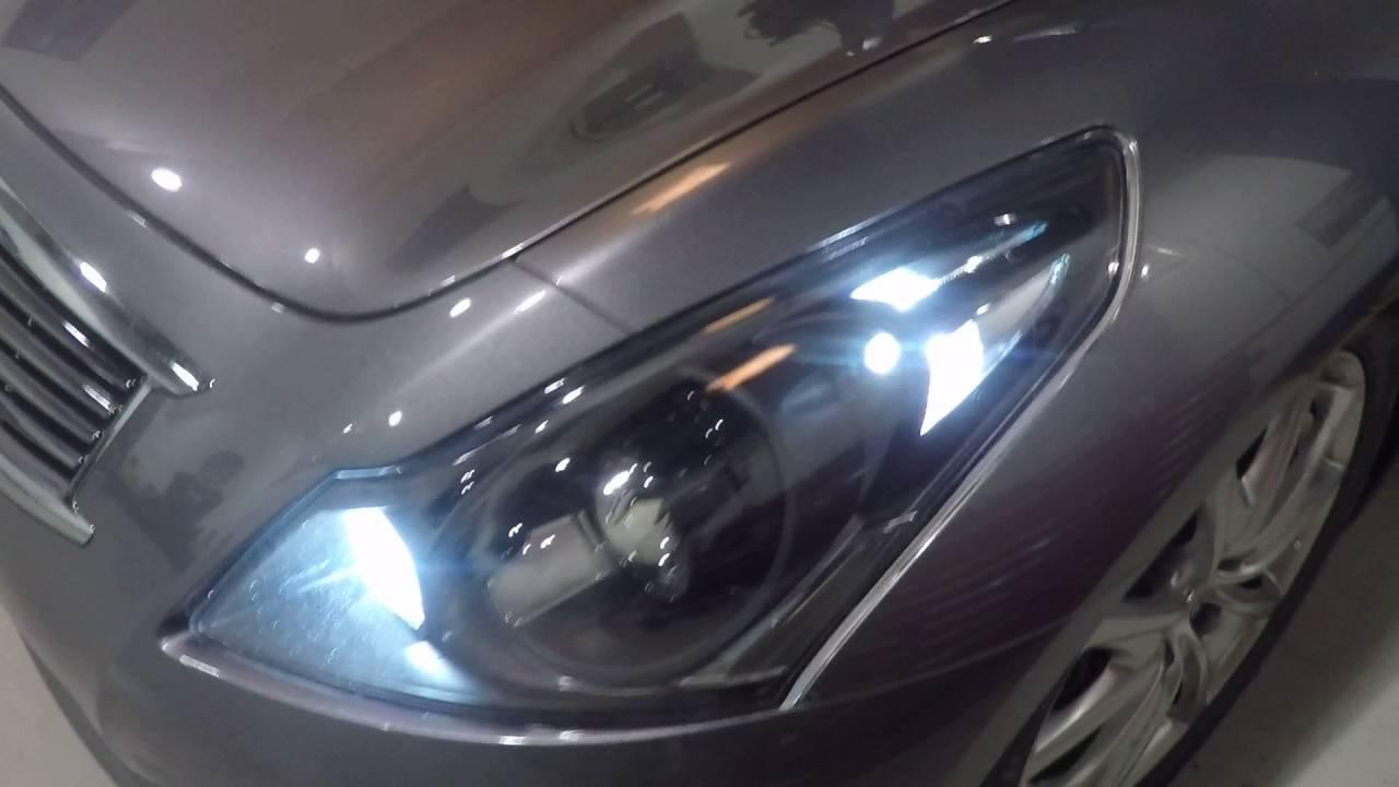2013 infiniti g37 sedan custom painted headlights clear lens swap vleds triton v3 youtube [ 1280 x 720 Pixel ]