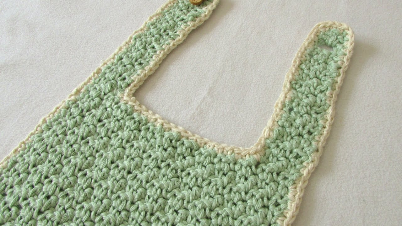 How to crochet a cute baby bib for beginners - YouTube