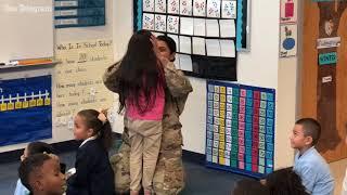 Arlington Army mom surprises daughter at school