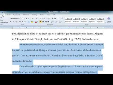 APA Long Quotes in Word 2010 - YouTube - how to use apa format in word