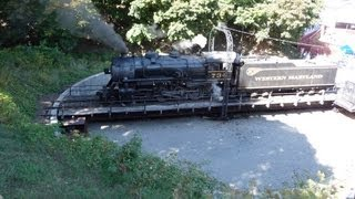Train Steam Locomotive turntable on Western Maryland Railroad in action
