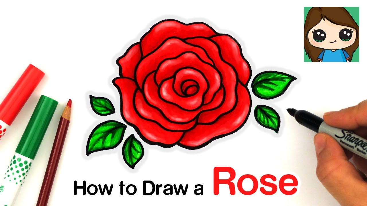 How To Draw An Open Rose Easy Youtube