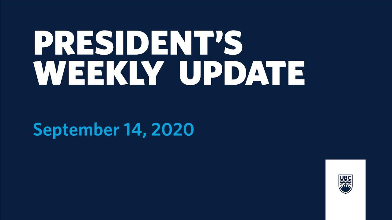 President's Weekly Update - September 14, 2020