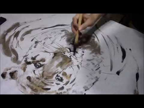Ogawa Ryu – Sumi-e Tiger Painting Black and Golden ink by Juliana Galende – 2014