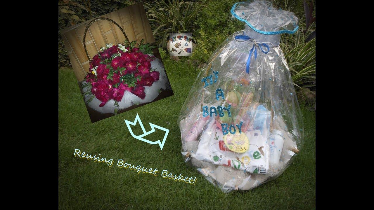 Turning A Bouquet Basket Into Gift Basket Reusing Bouquet Basket