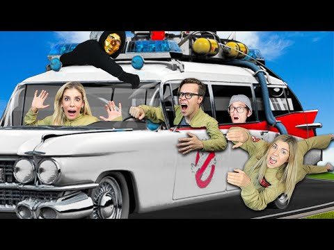 24 Hours in Real Ghostbuster Car to Rescue Best Friend ! (Giant Influencer Taste Test Challenge)