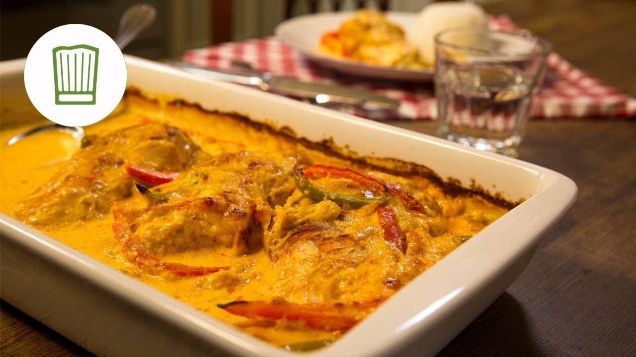 Paprika Sahne Hähnchen Aus Dem Ofen Chefkochde Youtube