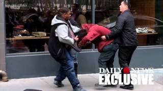 Two man brawl outside NYC Chipotle