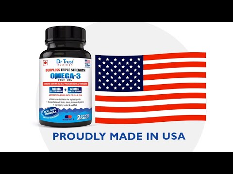 Triple Strength Fish Oil By Dr Trust Nutrition USA - ( Enteric Coated, Burpless)