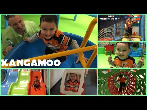 SUPER AWESOME Kids Indoor Playground | Swings Slides Zipline Obstacle Course Cars Wagons | Kangamoo