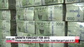 Private institutions expect Korean economy to expand 3.7% in 2015   민간기관, 내년 경제성