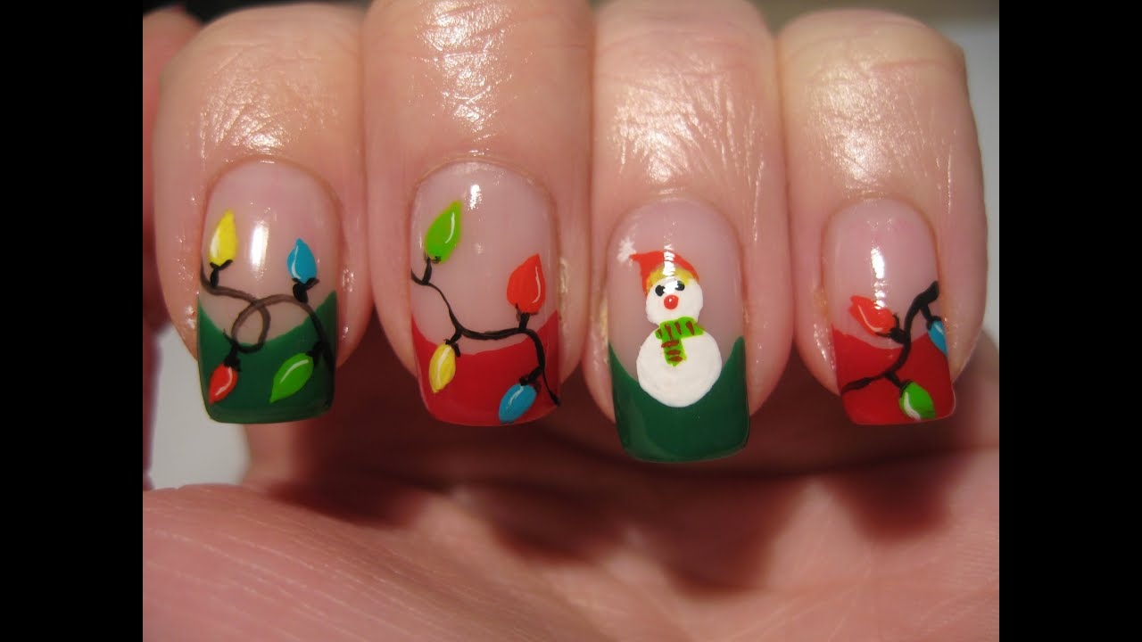 Nail art: Christmas lights and snowman - YouTube