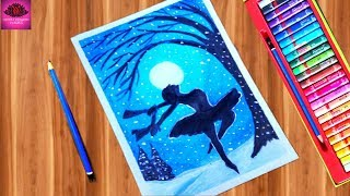 How to draw Dancing Ballerina scenery in snowfall with Oil Pastels - step by step