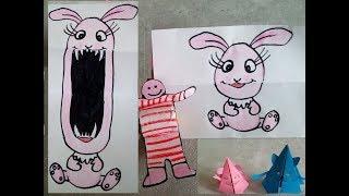 3 веселые поделки для детей. Двигающиеся  игрушки из бумаги. Идеи из интернета