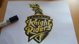 Drawing Kolkata Knight Riders Logo- IPL T20