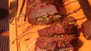 Smoked Stuffed Tri Tip Roast