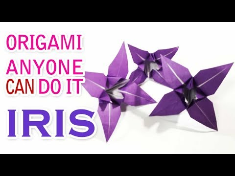 """How to make """"Easy 3D Iris""""folding papers step by step instructions Origami tutorial #63"""