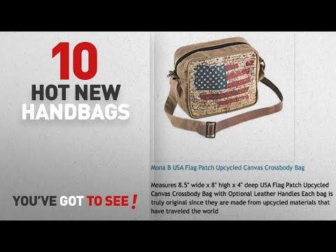 Mona B Handbags & Wallets [2018 New Arrivals]: Mona B USA Flag Patch Upcycled Canvas Crossbody Bag
