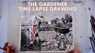 Farm Series 3/4 - The Gardener - Time Lapse Drawing