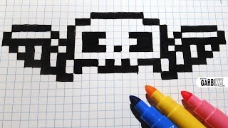 Handmade Pixel Art - How To Draw a Skull with Wings #pixelart