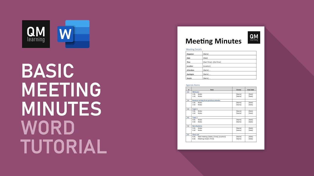 Basic Meeting Minutes Template  Microsoft Word Tutorial Intended For Corporate Minutes Template Word