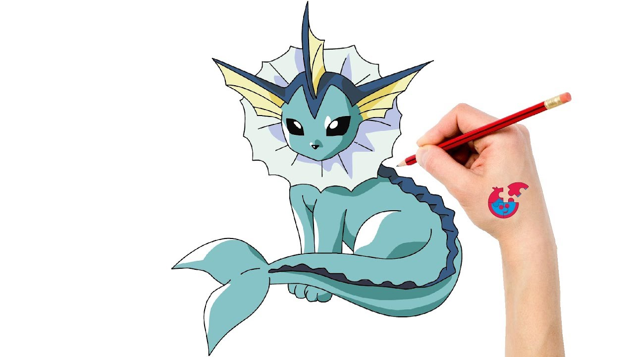How To Draw Pokemon Vaporeon For Toddlers - Learning Drawing ...