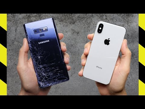 Galaxy Note 9 Vs. IPhone X Drop Test!