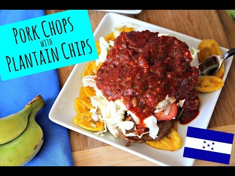 Pork Chops with Plantain Chips - Honduran food - La Cooquette