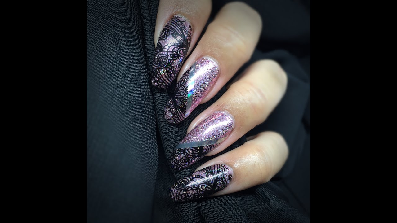 Sparkly Pink Rockstar Nails Petla Plate Stamping Empower Nail