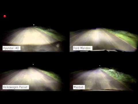 Volkswagen Passat, Ford Mondeo, Mazda 6 и Hyundai i40 светодиоды против ксенона