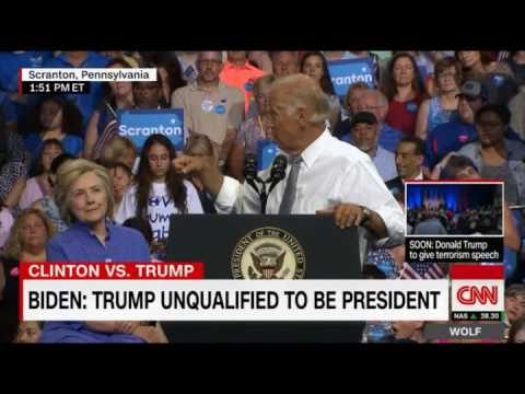 Joe Biden Points to Man at Hillary Rally Holding Nuclear Codes!