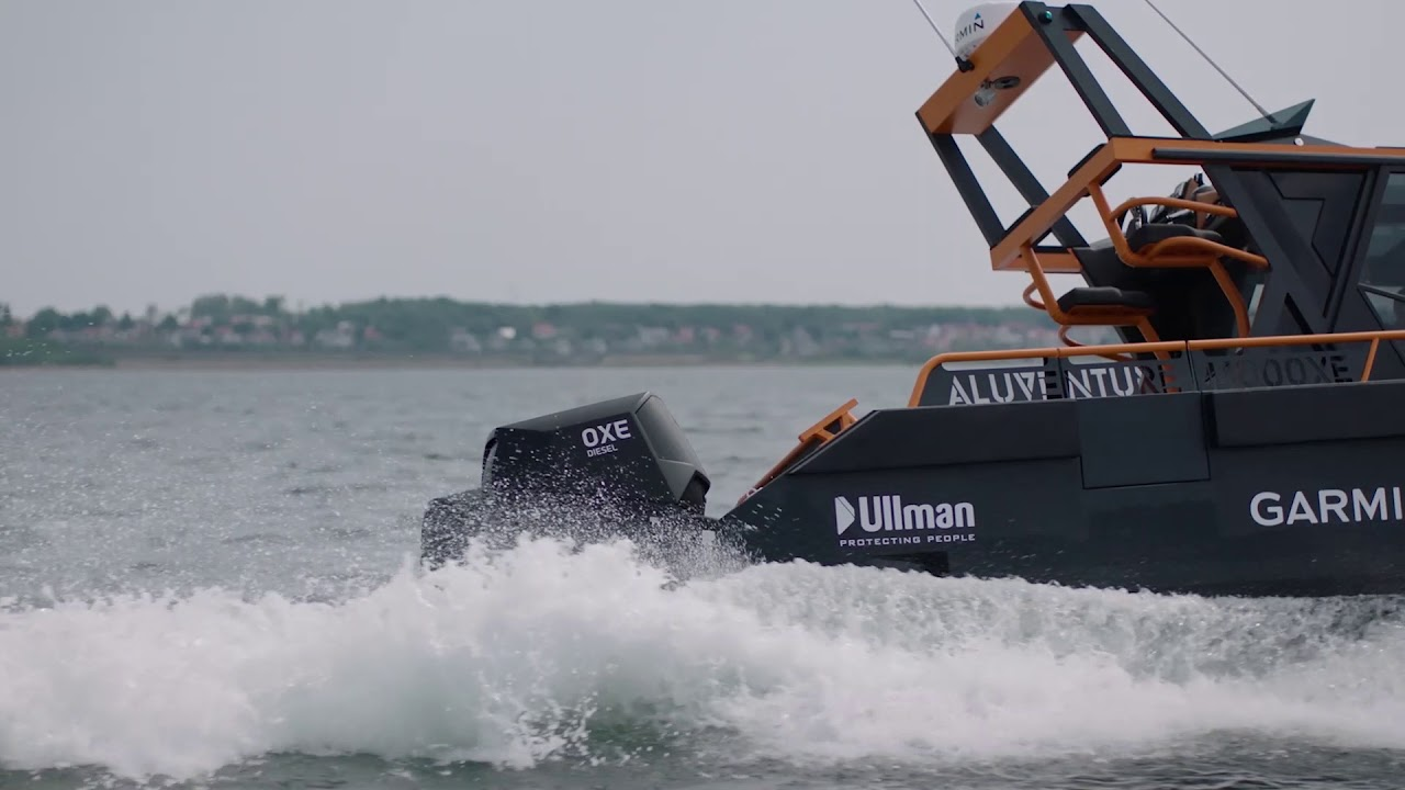 Aluventure with twin Oxe diesel outboards
