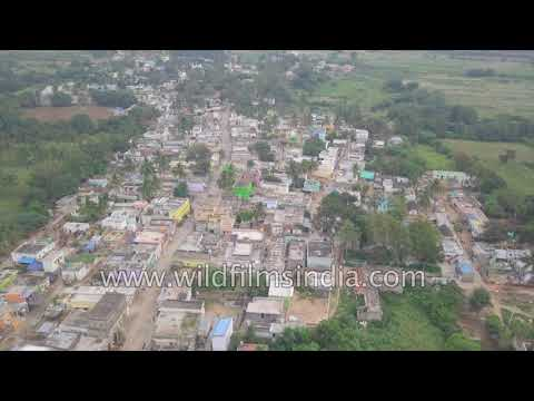 Bagepalli village in Chikballapur: aerial view of small town Karnataka