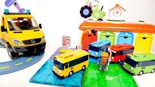 #TAYO el Pequeño autobús está ATURADO 🚌 Juegos de reparar autos. GRÚAS de juguete para niños