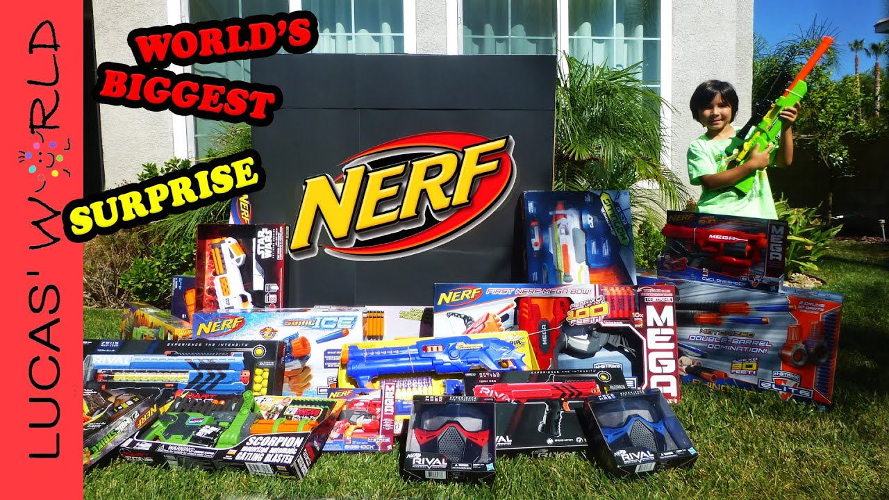 World s Biggest NERF Surprise Box NEW NERF RIVAL STAR WARS N STRIKE Elite Toy Blasters