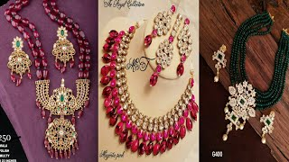 crystal beads,kundan bead chains,multicolor beads jewellery collection with prices\ onegram
