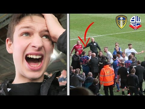 LEEDS COPPER THROWS BOLTON FAN DOWN STAIRS... | Leeds United vs Bolton Vlog