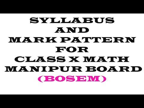 SYLLABUS AND MARK PATTERN CLASS X Math|| MANIPUR BOARD || FREE COACHING