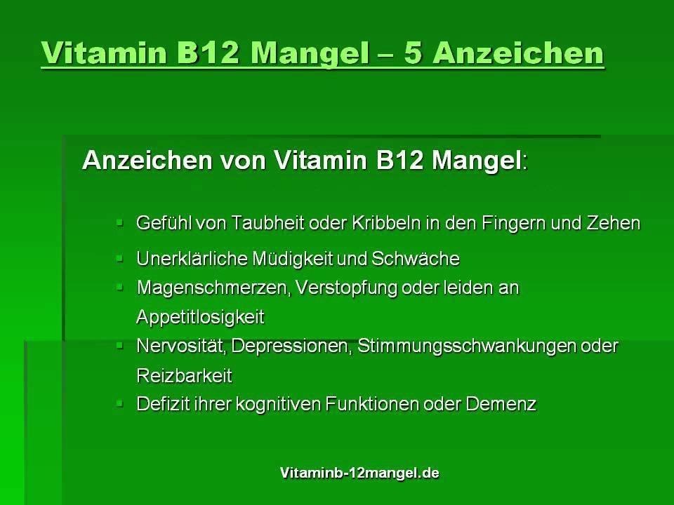 b12 mangel symptomer