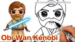 How to Draw Star Wars Jedi Obi Wan Kenobi Chibi step by step