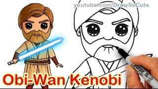 How to Draw Star Wars Jedi Obi Wan Kenobi Chibi step by step