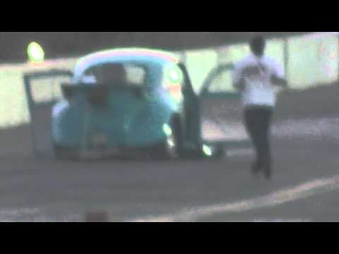 irwindale dragstrip 9-26-2013 outlaw turbo VW drag bug crashes in to wall