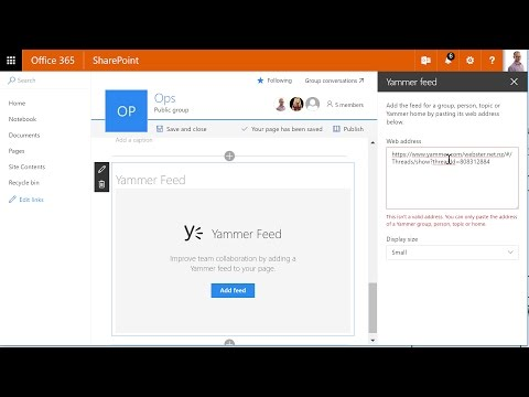 Embed a Yammer conversation into a SharePoint page - YouTube