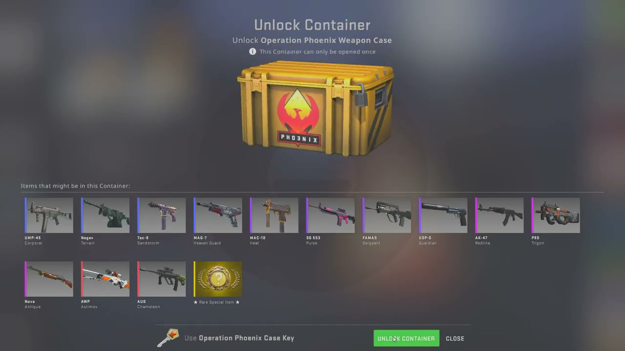 Opening a CS:GO case til a gold appears... DAY 228