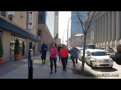 First Lady Sophie Grégoire Trudeau running in Montreal with the FitSpirit Girls