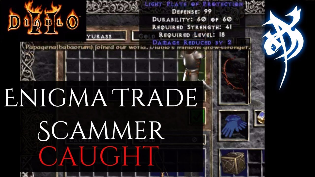 Enigma Trade Scammer Caught - Diablo 2 - YouTube