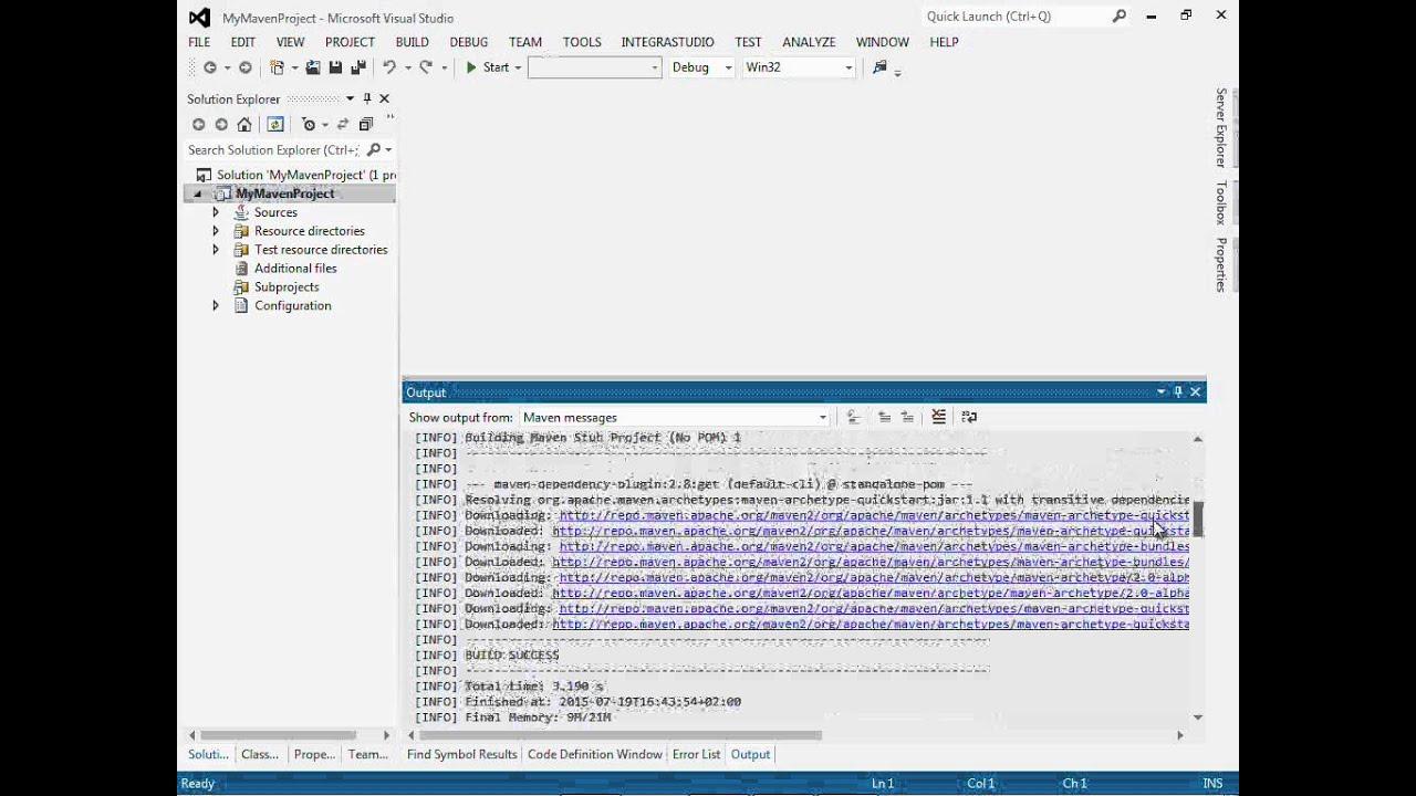 Java development under Visual Studio: simple Maven project