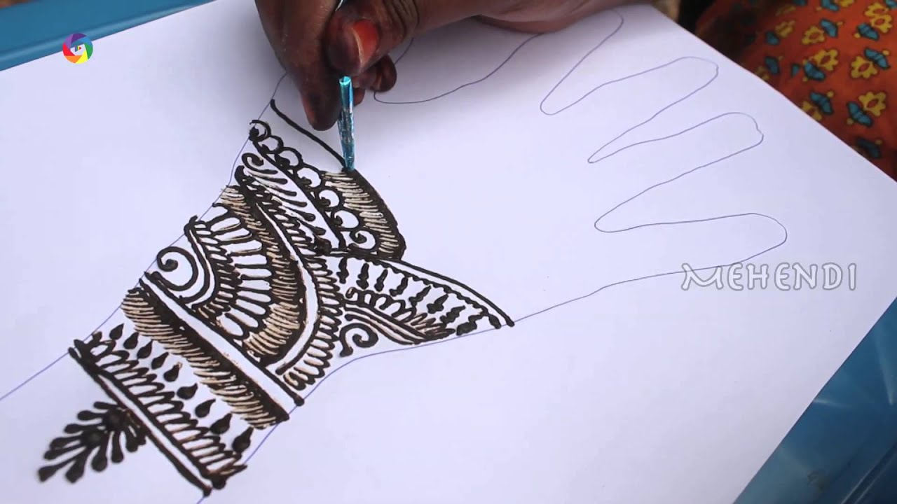 How To Draw A Best Indian Mehndi Design For Left Hand On