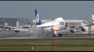 ✈✈強風着陸 間もなく退役デルタジャンボ (Delta Air Lines) (Polar Air Cargo)Landing Narita RWY16R成田空港!さくらの山 thumbnail