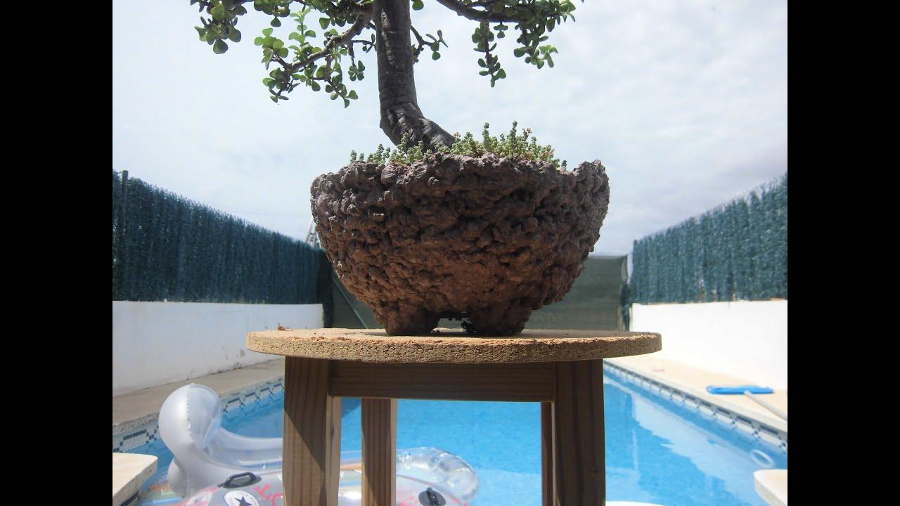 Maceta casera de piedra volc nica y cemento youtube for Piedra volcanica para jardin